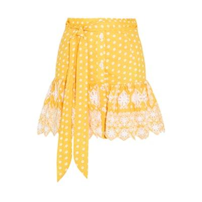 Emy Broderie Anglaise-Trimmed Polka-Dot Cotton Mini Skirt
