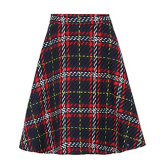 Plaid Virgin-Wool Tweed Skirt