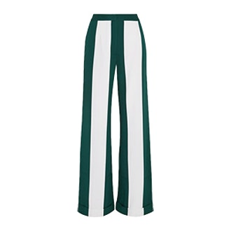 Striped Silk-Blend Crepe Wide-Leg Pants