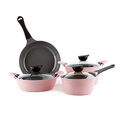 Eela 7 Piece Ceramic Nonstick Cookware Set In Pink