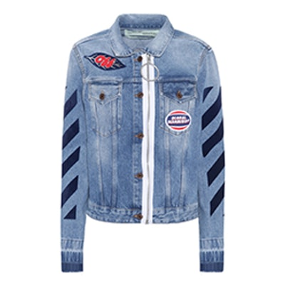 Diagonal Zip Denim Jacket