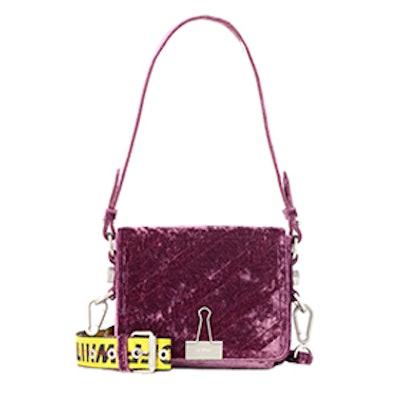 Diagonal Flap Velvet Shoulder Bag