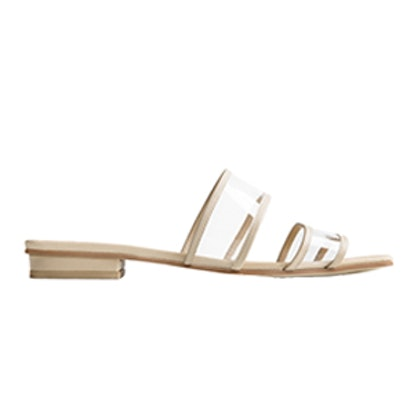 Beige Square Toe Clear And Leather Sandals