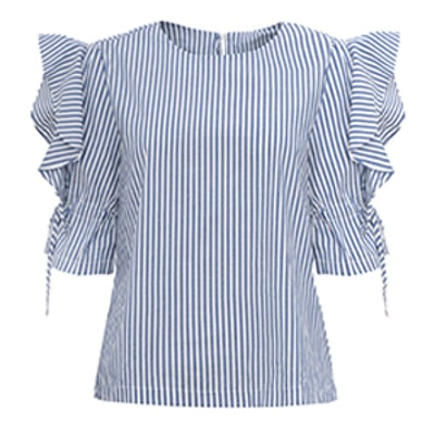 Quincy Striped Ruffle Sleeve Tie Top