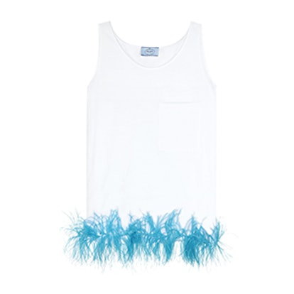 Feather-Trimmed Cotton Top