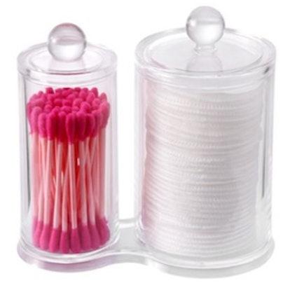 Makeup Organizer Cotton Pads Holder Swab Jar Divider