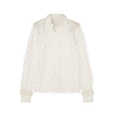 Crochet-Paneled Fil Coupé Cotton Shirt