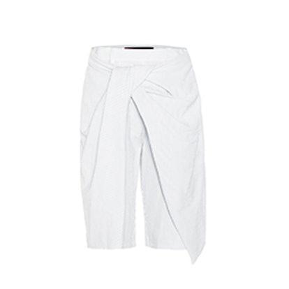 Draped Striped Cotton Shorts