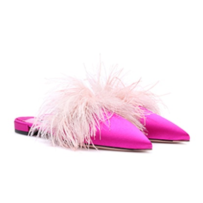 Feather-Trimmed Satin Slippers