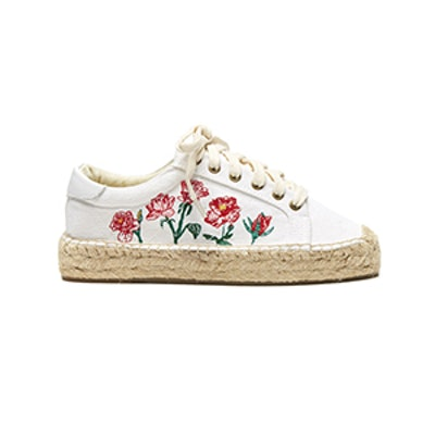 Rose Embroidered Platform Tennis Sneaker
