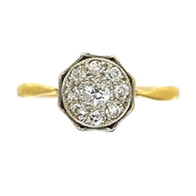 Art Deco 18ct Gold & Platinum Octagonal Diamond Ring