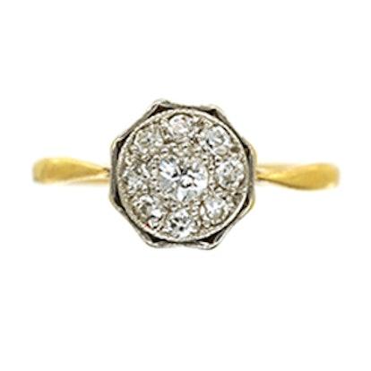 Art Deco 18ct Gold & Platinum Octagonal Diamond Ring