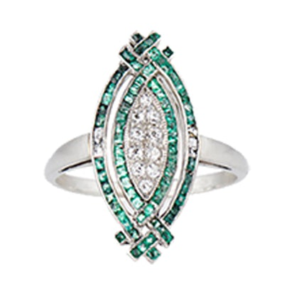 The Emerald & Diamond French Dancer Ring