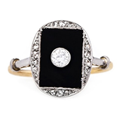 Crescent City Platinum Topped 18K Yellow Gold Ring