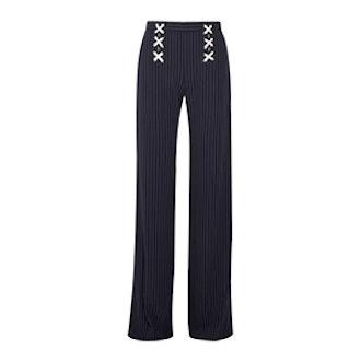 Quinn Lace-Up Striped Crepe Wide-Leg Pants