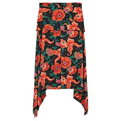 Printed Flowing Midi Skirt