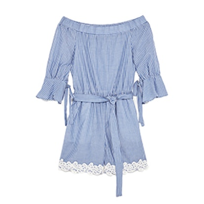 Striped Lace-Trimmed Jumpsuit