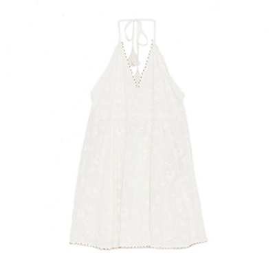 Embroidered Mini Halter Dress