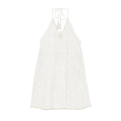 Embroidered Mini Halter Dress