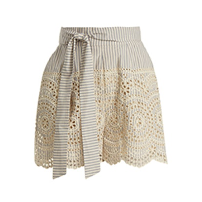 Meridian Striped Broderie-Anglaise Shorts