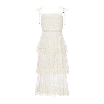 Meridian Circle Lace Midi Dress