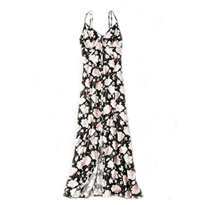 Strappy Button-Front Maxi Dress