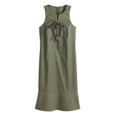 Petite Sleeveless Lace Up Shift Dress