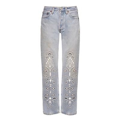 Eyelet Bandana Straight-Leg Jeans
