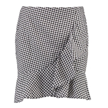 Madison Ruffle Front Woven Checked Mini Skirt