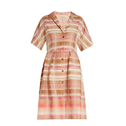 Donna Striped-Jacquard Shirtdress