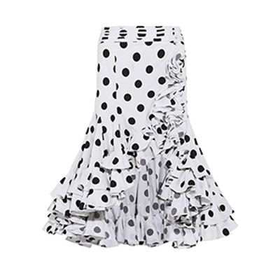 Giovanna Asymmetric Ruffled Polka-Dot Cotton Skirt