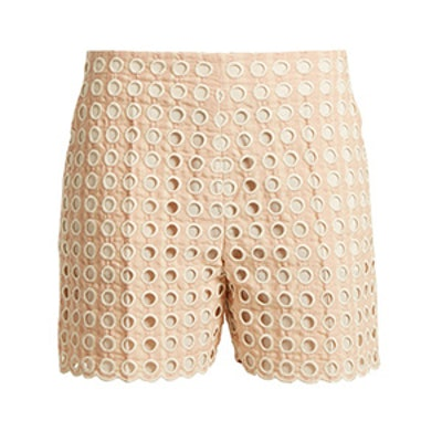 Embroidered Eyelet Cotton-Blend Shorts