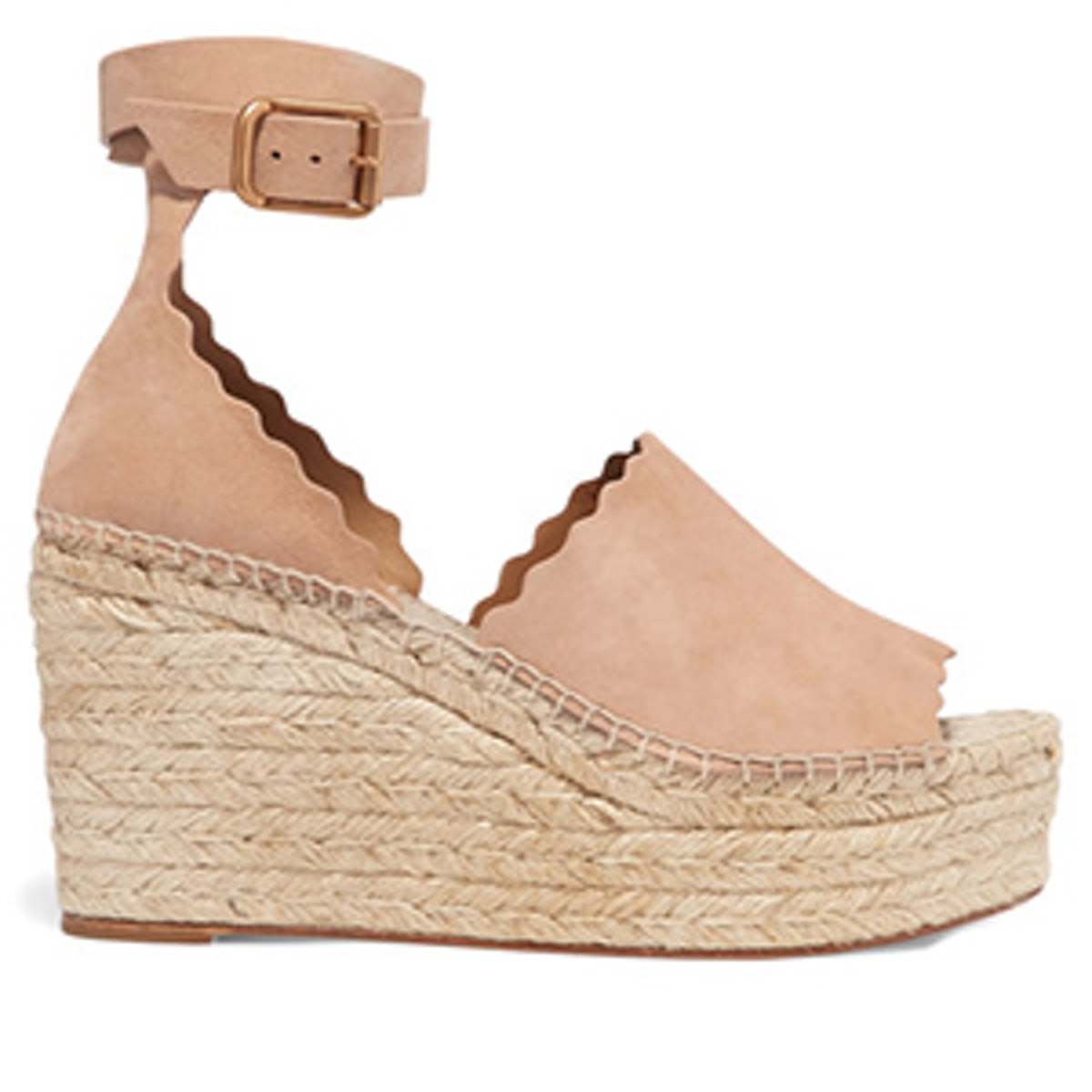 Scalloped Suede Espadrille Wedge Sandals