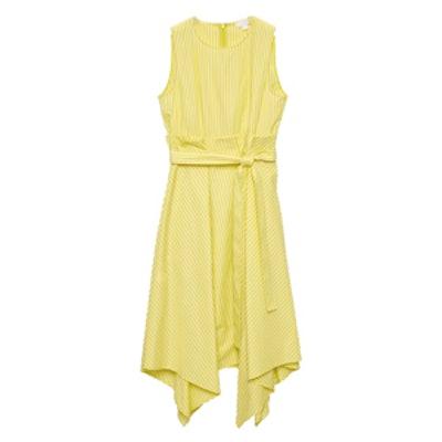 Sleeveless Dress With Pleated Waist