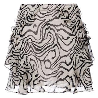 Printed Frill Trim Mini Skirt