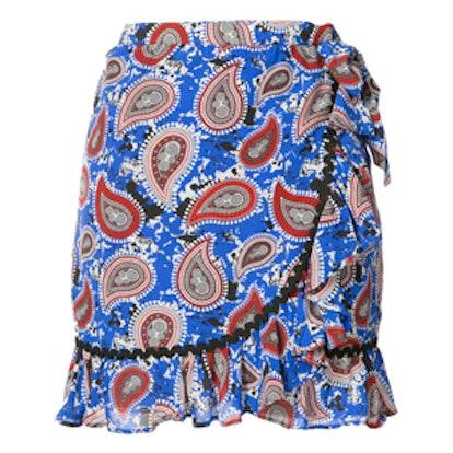 Paisley Print Ruffle Skirt