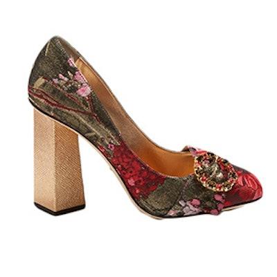 Block-Heel Floral-Jacquard Pumps