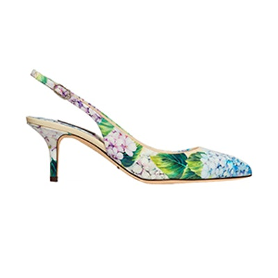 Floral-Print Glossed-Leather Slingback Pumps