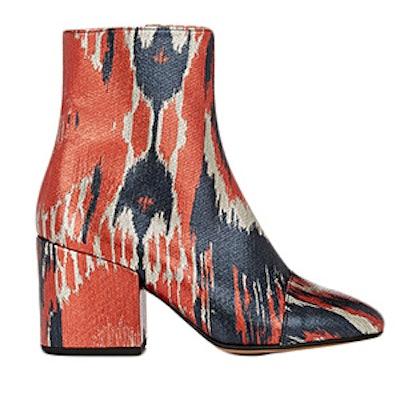 Cap-Toe Lamé Ankle Boots