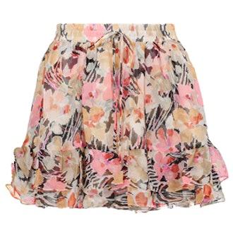 Laurel Floral-Print Crinkled Silk-Georgette Mini Skirt