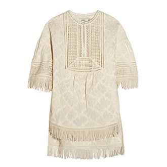 Fringed Embroidered Cotton Top