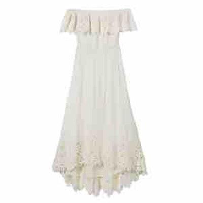 Halsey Off-The-Shoulder Eyelet-Detail High/Low Dress