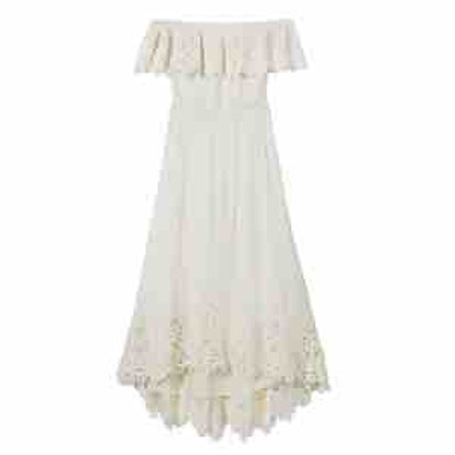 Halsey Off-The-Shoulder Eyelet-Detail High/Low Dress