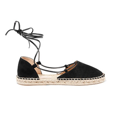 Lace-up Suede and Leather Espadrilles