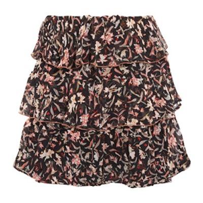 Ruffled Printed Georgette Mini Skirt