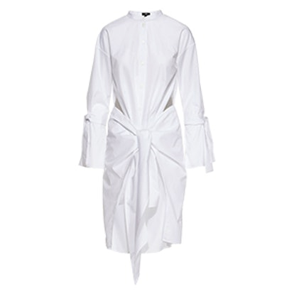 White Paneled Shirt Dress