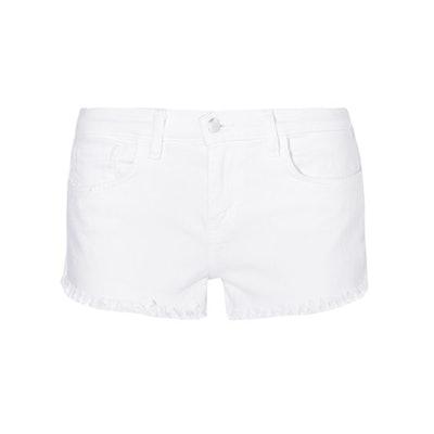 Zoe Frayed Stretch-Denim Shorts