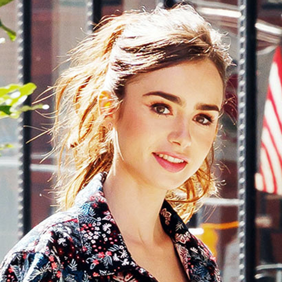 135ed77e385cf Lily Collins Just Showed Us How To Power Dress With Floral Prints