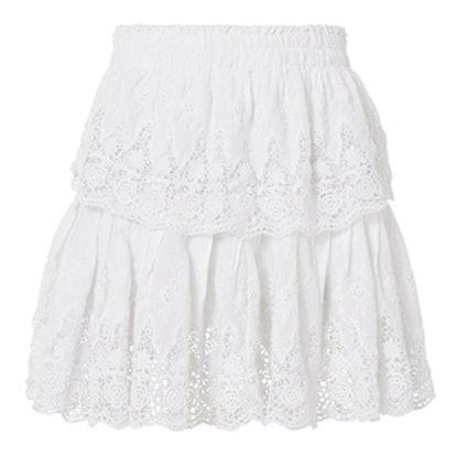 Ruffled White Mini Skirt