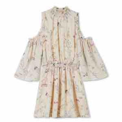 Meade Cold-Shoulder Floral Printed Chiffon Mini Dress